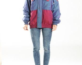Vintage Color Block Winter Jacket / Skiing Jacket Coat / Blue Pink 90s Club Kid / Avant Garde Jacket / Womens SIze large Mens SIze medium