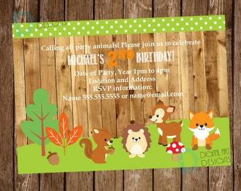 Woodlands birthday invitation - Woodlands Birthday - Nature Party - First Second Third Birthday *** Digital File Only ***
