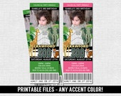 ZOO TICKET INVITATIONS Animal Birthday Party - (printable files) Jungle Safari - Print Your Own - Any Accent Color with Photo