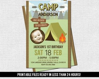 CAMP INVITATION Backyard Birthday Bash Party (print your own) Personalized Printable Camping Files