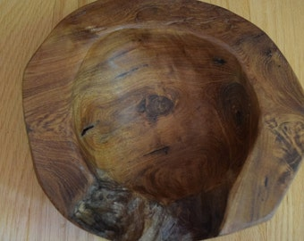 vintage carved wood bowl art piece