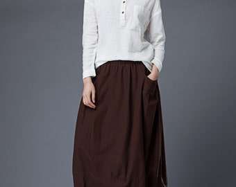 Brown Linen Skirt - Tulip Shaped Maxi Long Casual Comfortable Everyday Trendy Woman's Skirt with Elasticated Waist C861