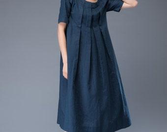 Linen Dress – Versatile Casual Blue Linen Midi Length Boho Style Pleated Loose-Fitting Summer Dress  C940
