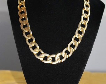 Exquisite Choker POLISHED Gold Tone CHAIN Metal Runway Necklace NC