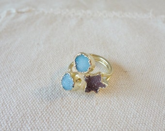 Natural Druzy Agate Three-Ring Round & Star Shape Gold plated Quartz  Drusy Gem Stone Finger Rings Jewelry Ring