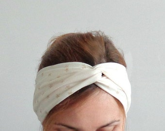 Stars ivory turban fashion twist headband turband stretch jersey twisted head wrap glitter shiny trendy hair accessory cream white