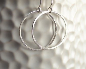 Sterling Hoops, Silver Hoops, Sterling Silver Earrings, Silver Earrings, Textured Silver Earrings, Simple Earrings, Delicate Earrings