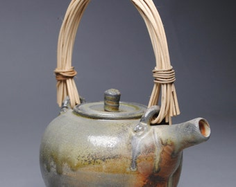 Wood Fired Teapot with Handmade Cane Handle D98