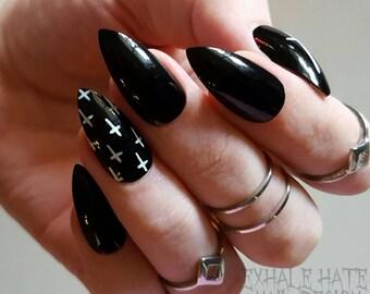 Black with White Crosses Fake Glue on Nails - Stiletto, Coffin, Square, Oval