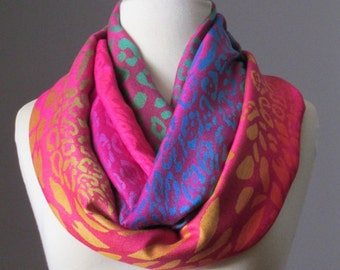 Hot pink Infinity scarf - ombre scarf - animal scarf -  light fall scarf