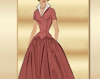 1950s Dress Pattern Marian Martin 9029 Mail Order Mid Century Classic with Full Gathered Rockabilly Skirt and Long Waist Torso