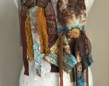 Boho Long Scarf in Teal and Brown, Lace Scarf, Wrap Scarf, Hand Painted Scarf, Ombre Fabric scarf, Boho women accessories, Boho Fashion
