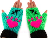 Frankenstein Kitty Inspired Fingerless Gloves - Green, Teal, Black Monster Cat Texting Mitts with Felt Paws - Psychobilly Goth Womens Gloves