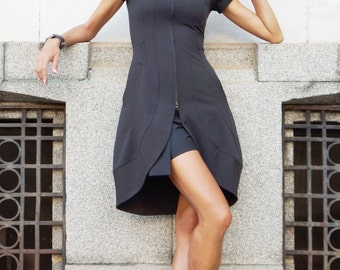 New Spring Summer Sexy Dress / Black Polyviscose Dress /Double zipper / Side Pockets / Short Sleeves Dress / Extravagant Party Dress A03493