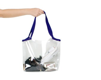 Medium Tote Bag Clear Vinyl Cotton Straps Shoulder Bag