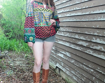 Vintage 70s Silky Shirt GEOMETRIC PRINT Pullover Top BoHo Hippie FESTIVAL Ballon Bell long sleeved Groovy Mens Woman pointy collar Tunic M/L