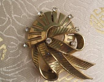 Vintage Brooch - Vintage 1950s Brooch - Vintage Gold Tone Rhinestone Brooch - Vintage Mazer Brooch - Vintage Jomaz Brooch - Vintage Pin Gold