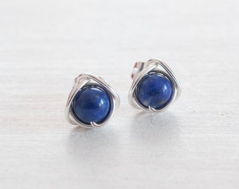 Stud Earrings, Lapis Lazuli Earrings, Blue Stud Earrings, Sterling Silver/Gold Wire Wrapped Earrings, Lapis Stud Earrings, Gifts for Her