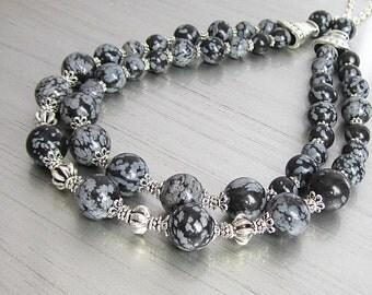 Double Strand Black Obsidian Gemstone Necklace, Big Bold Gemstone Jewellery, Graduated Natural Stone Necklace, Semi Precious Stone Bib Style