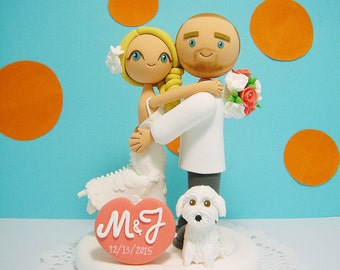 Lovely couple with a dog custom wedding cake topper