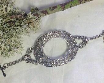 Oversized Chunky Statement Bracelet Repurposed Vintage Silver Rhinestone Shoe Buckle Ornate One of A Kind Original Upcycle WishAnWearJewelry