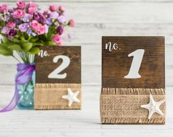 Beach Table Numbers - Nautical Starfish Burlap Wood Table Numbers - Beach Wedding Table Numbers
