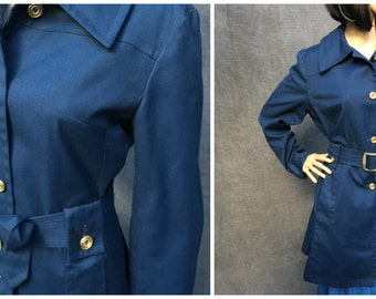 60's London Fog Maincoats Navy Blue Women's Belted Trench Coat - Size M/L
