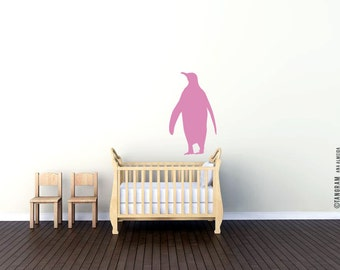 Lilac Penguin Vinyl Sticker. Baby girl Wall Art. Baby nursery wall decal. Baby room decor, penguin wall decal, by TANGRAMartworks