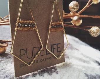 Geometric Earrings- Citrine & Pyrite // Gold Filled Hooks