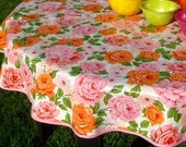 """47.5"""" Oil Cloth Tablecloth Round Shabby Chic PINK Rose (NO Hole) PINK Trim Oilcloth Vinyl Outdoors Umbrella Patio Wipe Clean"""