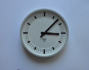 "11.5"" diameter Vintage Industrial wall clock from PRAGOTRON. 1980s. Gray Rim.  Czechoslovakia. Czech. 1184"