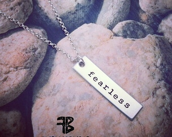 Fearless Bar Necklace, Graduation Gift, Unisex Fearless Bar Necklace, Motivational Jewelry, Fearless Necklace, For Dad, Fathers Day Gift