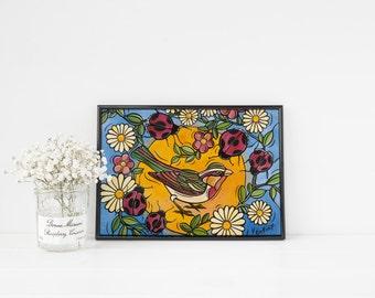 Bird Art Print  - Ladybugs Nursery Bird Art - Original Fine Art Print - Bird with Ladybugs and White Daisies