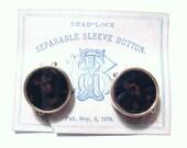 VICTORIAN Antique 1879 Patent 12k Gold BLOODSTONE Spring Back Stud Batchelor Button CUFFLINKS Original Advertisting Paper Card Cuff Links