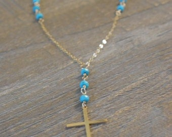 Rosary Necklace/Gold Rosary Necklace/Turquoise Rosary Necklace/Gift for Her/Real Gold Rosary/Cross