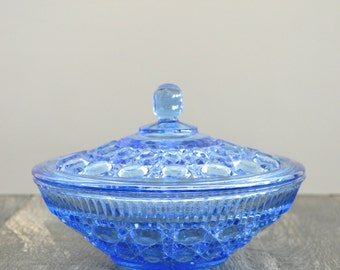 Vintage Indiana Glass Windsor Blue Covered Candy Dish, Sapphire Blue Glass
