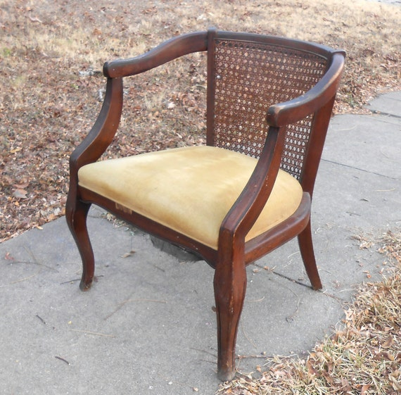 Vintage Wood Chair Cane Back Velvet Seat Simple And Elegant
