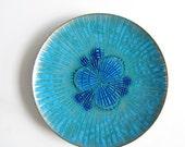 ON SALE Annemarie Davidson Abstract Blue Enamel Jewels Plate Tray