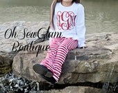 Girls Monogram Ruffle Pant Outfit - Red and WHite - Ruffle Pant Outfit -Girls Monogram Shirt-Girls Christmas Personalized Shirt-Ruffle Pants