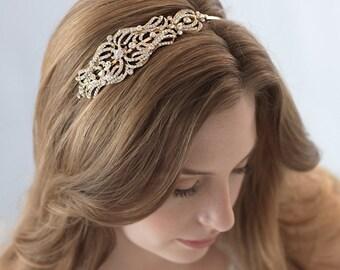 Gold Bridal Headband, Bridal Hair Accesory, Vintage Bridal Headpiece, Rhinestone Headband, Bridal Headband, Gold Wedding Headband ~TI-3205-G