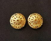 Vintage Button Covers, Gold-Tone Filigree NONY of New York, 1990s, Faux Cuff Links