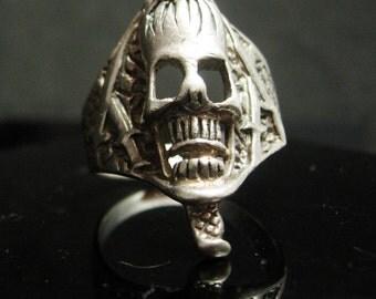 Snake & Skull Ring sterling Vintage silver serpent Biker SIZE 10 Gothic bizarre jewelry