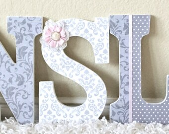 Custom nursery letters baby name- nursery decor- hanging wooden letters- personalized name- wall art- any color and theme