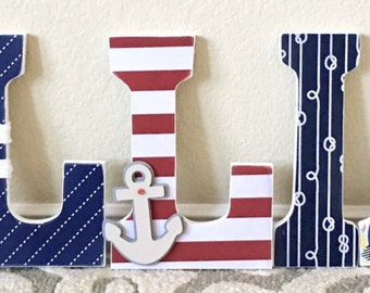 Nautical Nursery Letters, Surfing, Surfboard, Beach theme, Nautical Nursery Decor, Wooden Letters, Wall Letters, Nautical Baby Shower