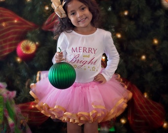 Christmas outfit. Merry and Bright. Pink and Gold. Satin ribbon trimmed Petti tutu with glitter shirt