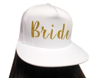 BRIDE HAT, Bride Tribe Hat, Gold Glitter Bride Hat