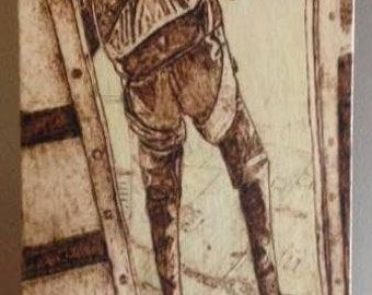 Jump Pyrography and Pencil Crayon on Birch Wood Panel