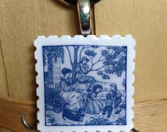 Delft Jewellery - Unique Postage Stamp pendants - Delft blue