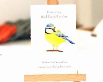 Hand- drawn and coloured Bluetit brooch, bird brooch. Birds.
