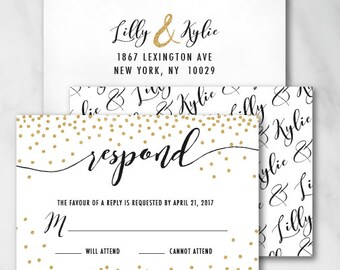 Reply Card | Digital RSVP Card | Printed RSVP Card | Printed Reply Card |Digital Reply Card | Kylie Gold